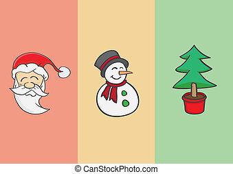 bonhomme de neige, claus, arbre, noël, santa