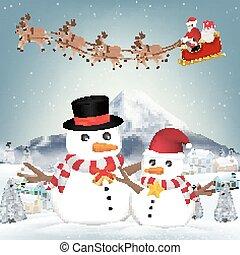 bonhomme de neige, claus, hiver, santa, village