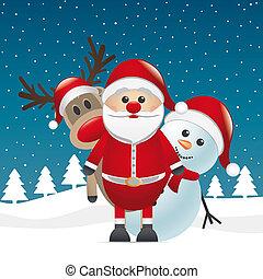 bonhomme de neige, claus, renne, nez, santa, rouges