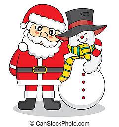 bonhomme de neige, claus, santa, amis
