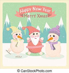 bonhomme de neige, claus, santa
