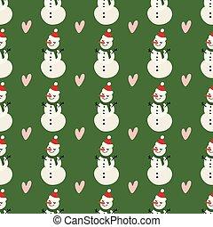 bonhomme de neige, coeur, hiver, modèle, decoration., décoration, arrière-plan., vecteur, conception, fond, vert