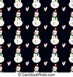 bonhomme de neige, coeur, hiver, modèle, decoration., décoration, arrière-plan., vecteur, conception, fond, sombre