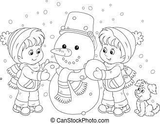 bonhomme de neige, confection, enfants