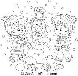 bonhomme de neige, confection, enfants, noël