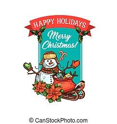 bonhomme de neige, croquis, cadeau, vacances, noël carte