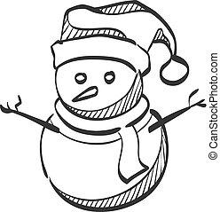 bonhomme de neige, croquis, -, icône