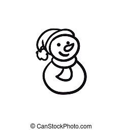 bonhomme de neige, croquis, icon.