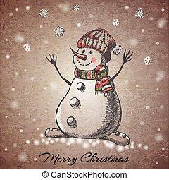 bonhomme de neige, dessiné, croquis, style, main