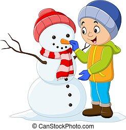 bonhomme de neige, dessin animé, peu, bâtiment, garçon