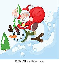 bonhomme de neige, dessin animé, santa