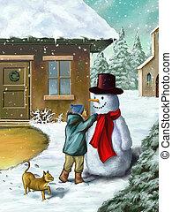 bonhomme de neige, enfants