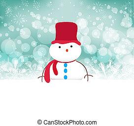 bonhomme de neige, flocons neige, fond