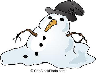 bonhomme de neige, fondre