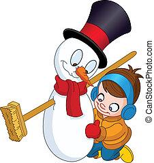 bonhomme de neige, garçon, confection