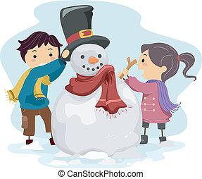bonhomme de neige, gosses, confection