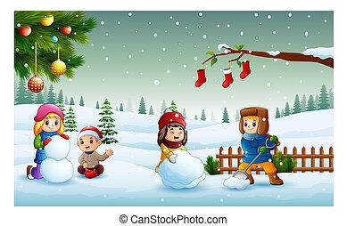 bonhomme de neige, gosses, neige, noël, confection, jouer, jour, heureux