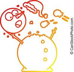 bonhomme de neige, gradient, baston, boule de neige, chaud, dessin ligne