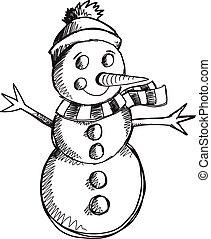 bonhomme de neige, griffonnage, croquis, vecteur, art