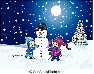 bonhomme de neige, hiver, nuit, confection, enfants, paysage