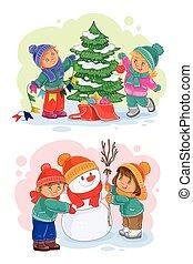 bonhomme de neige, icônes, arbre noël, décorer, petit, confection, enfants