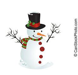 bonhomme de neige, illustration, mignon