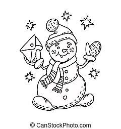bonhomme de neige, illustration, outline., book., coloration, style, vecteur