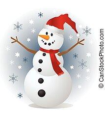 bonhomme de neige, illustration, vecteur