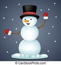bonhomme de neige, jouet, flocons neige, caractère, illustration, vecteur, fond, année, nouveau, heureux, dessin animé, icône