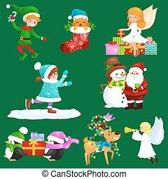 bonhomme de neige, jouir de, patinage, chapeaux, ange, cerf, présente, dons, girl, glace, enfants, hiver, elfe, ailes, fetes, lumières, ramure, sien, claus, chaussette, santa, décoré, pile, bonbons, chat, tuyau, pingouins