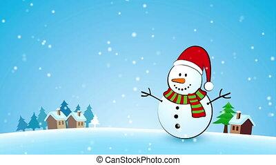 bonhomme de neige, joyeux noël, carte