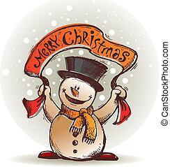bonhomme de neige, main, vecteur, dessiné, sourire, bannière