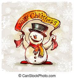 bonhomme de neige, main, vecteur, dessiné, sourire, vacances, bannière