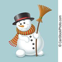 bonhomme de neige, mignon, bleu, isolé, fond, noël