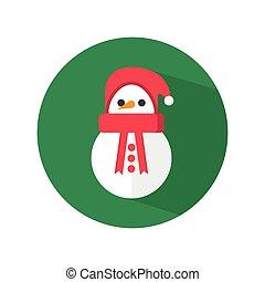 bonhomme de neige, mignon, chapeau, santa