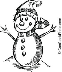 bonhomme de neige, mignon, croquis, vacances, hiver