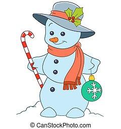 bonhomme de neige, mignon, dessin animé