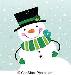 bonhomme de neige, mignon, hiver, neiger, isolé, fond
