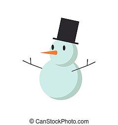 bonhomme de neige, mignon, isolé