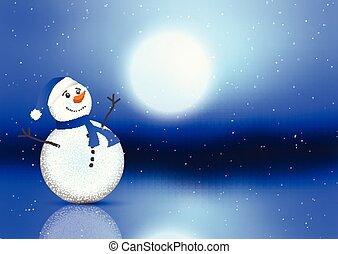 bonhomme de neige, mignon, noël, fond