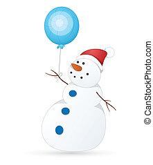 bonhomme de neige, mignon, vecteur, illustration