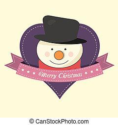 bonhomme de neige, noël, étiquette