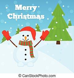bonhomme de neige, noël carte, salutation