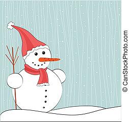 bonhomme de neige, noël, fond, hiver