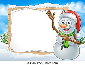 bonhomme de neige, noël, santa, signe, chapeau, dessin animé