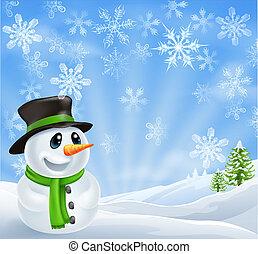 bonhomme de neige, noël scène