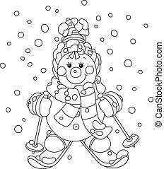 bonhomme de neige, noël, skieur