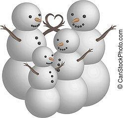 bonhomme de neige, objet, famille, 3d