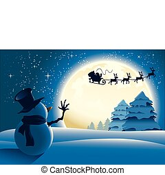 bonhomme de neige, onduler, solitaire, santa