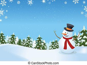 bonhomme de neige, paysage, hiver